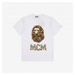 Bape & Mcm 20ss Vintage Camouflage Print White T-Shirt