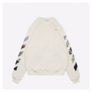 Off White 19ss White Sweater with Oil Painting